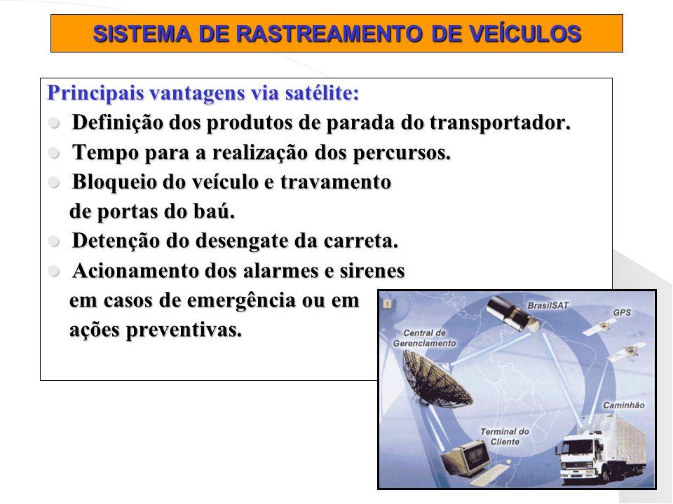 SISTEMA DE RASTREAMENTO DE VEÍCULOS Principais vantagens via satélite: Definição dos produtos de parada do transportador. Definição dos produtos de pa