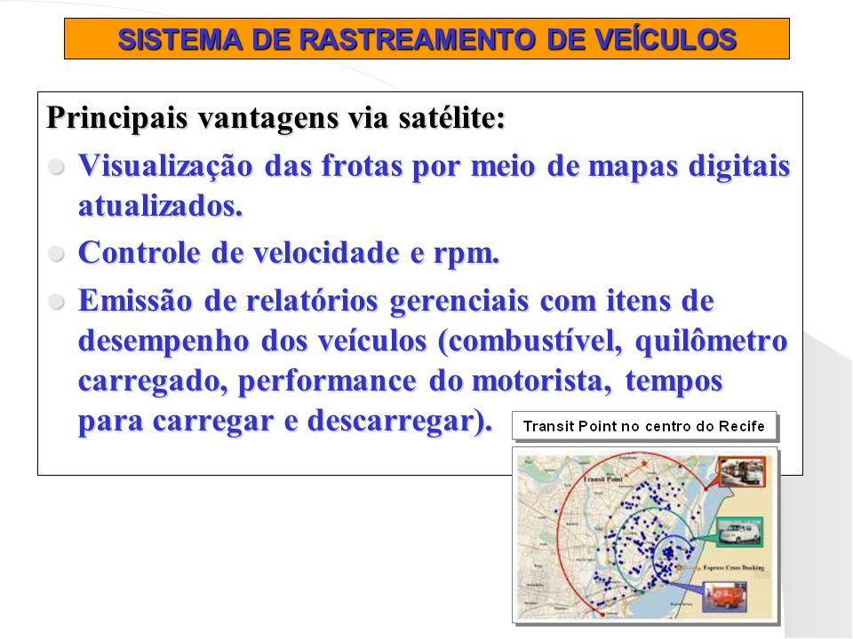 SISTEMA DE RASTREAMENTO DE VEÍCULOS Principais vantagens via satélite: Visualização das frotas por meio de mapas digitais atualizados. Visualização da