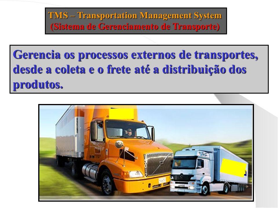 TMS – Transportation Management System (Sistema de Gerenciamento de Transporte) (Sistema de Gerenciamento de Transporte) Gerencia os processos externo