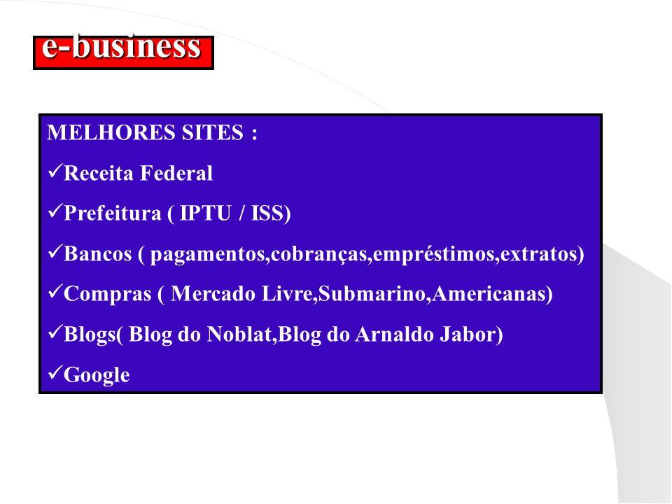 e-business MELHORES SITES : Receita Federal Prefeitura ( IPTU / ISS) Bancos ( pagamentos,cobranças,empréstimos,extratos) Compras ( Mercado Livre,Subma