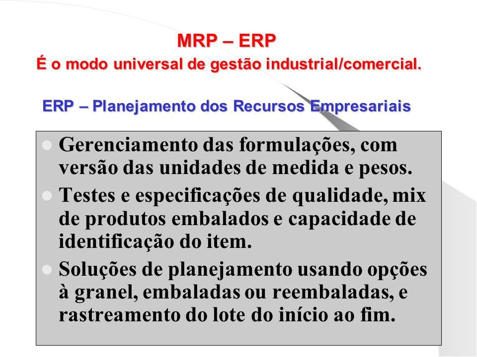 MRP – ERP É o modo universal de gestão industrial/comercial. ERP – Planejamento dos Recursos Empresariais Gerenciamento das formulações, com versão da