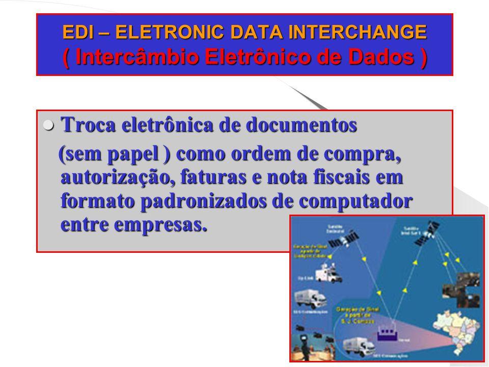 EDI – ELETRONIC DATA INTERCHANGE ( Intercâmbio Eletrônico de Dados ) Troca eletrônica de documentos Troca eletrônica de documentos (sem papel ) como o