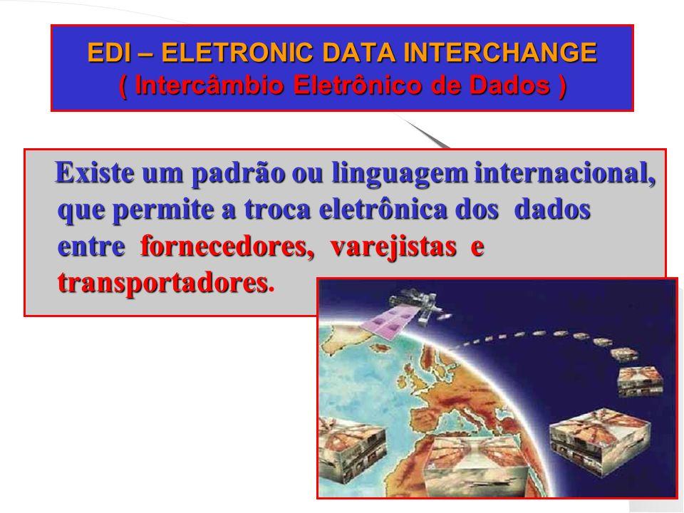 EDI – ELETRONIC DATA INTERCHANGE ( Intercâmbio Eletrônico de Dados ) Existe um padrão ou linguagem internacional, que permite a troca eletrônica dos d