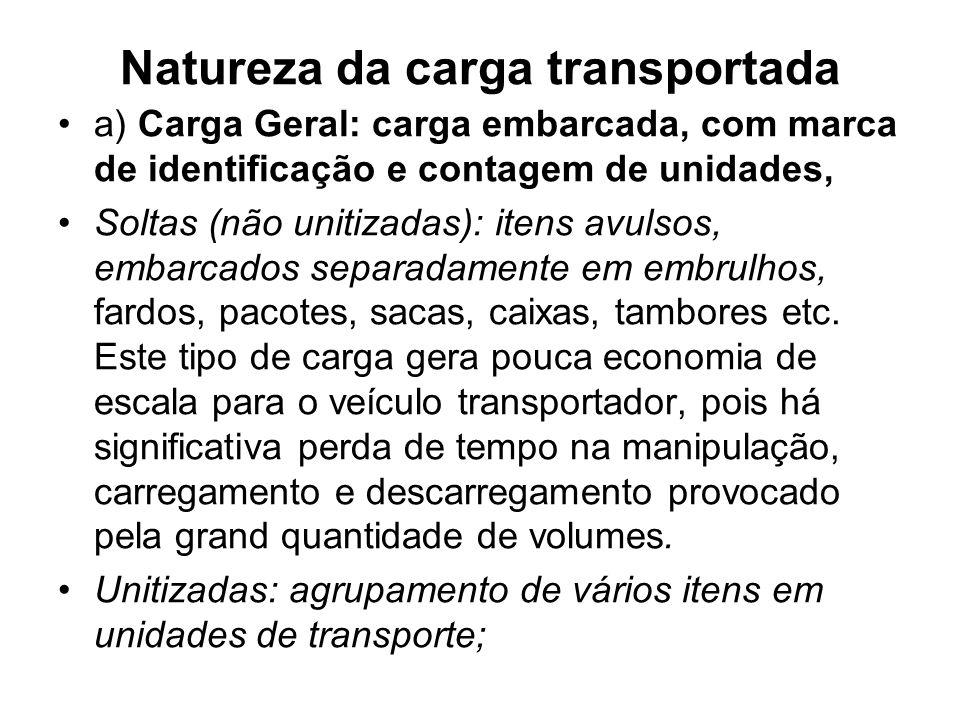 Natureza da carga transportada a) Carga Geral: carga embarcada, com marca de identificação e contagem de unidades, Soltas (não unitizadas): itens avul