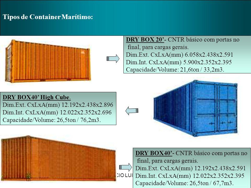 PROF. MÁRCIO LUIZ MARIETTO Tipos de Container Marítimo: DRY BOX 20- CNTR básico com portas no final, para cargas gerais. Dim.Ext. CxLxA(mm) 6.058x2.43