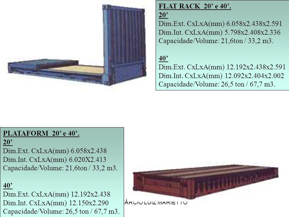 PROF. MÁRCIO LUIZ MARIETTO FLAT RACK 20 e 40. 20 Dim.Ext. CxLxA(mm) 6.058x2.438x2.591 Dim.Int. CxLxA(mm) 5.798x2.408x2.336 Capacidade/Volume: 21,6ton