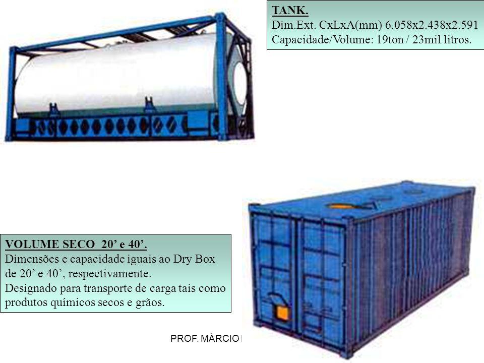 PROF. MÁRCIO LUIZ MARIETTO TANK. Dim.Ext. CxLxA(mm) 6.058x2.438x2.591 Capacidade/Volume: 19ton / 23mil litros. VOLUME SECO 20 e 40. Dimensões e capaci