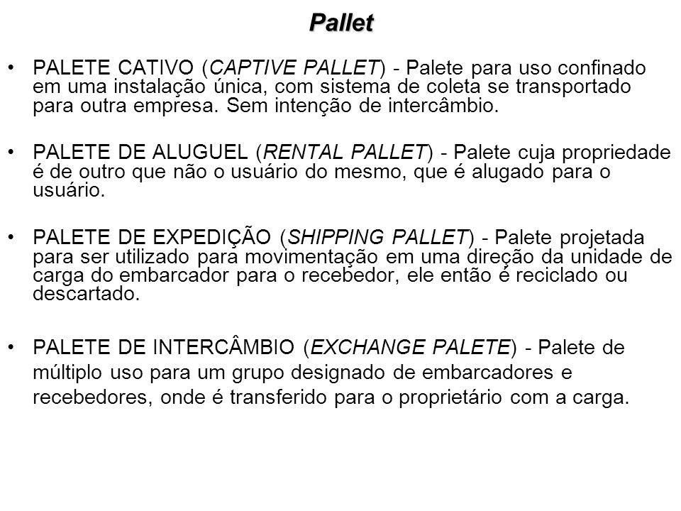 Pallet PALETE CATIVO (CAPTIVE PALLET) - Palete para uso confinado em uma instalação única, com sistema de coleta se transportado para outra empresa. S