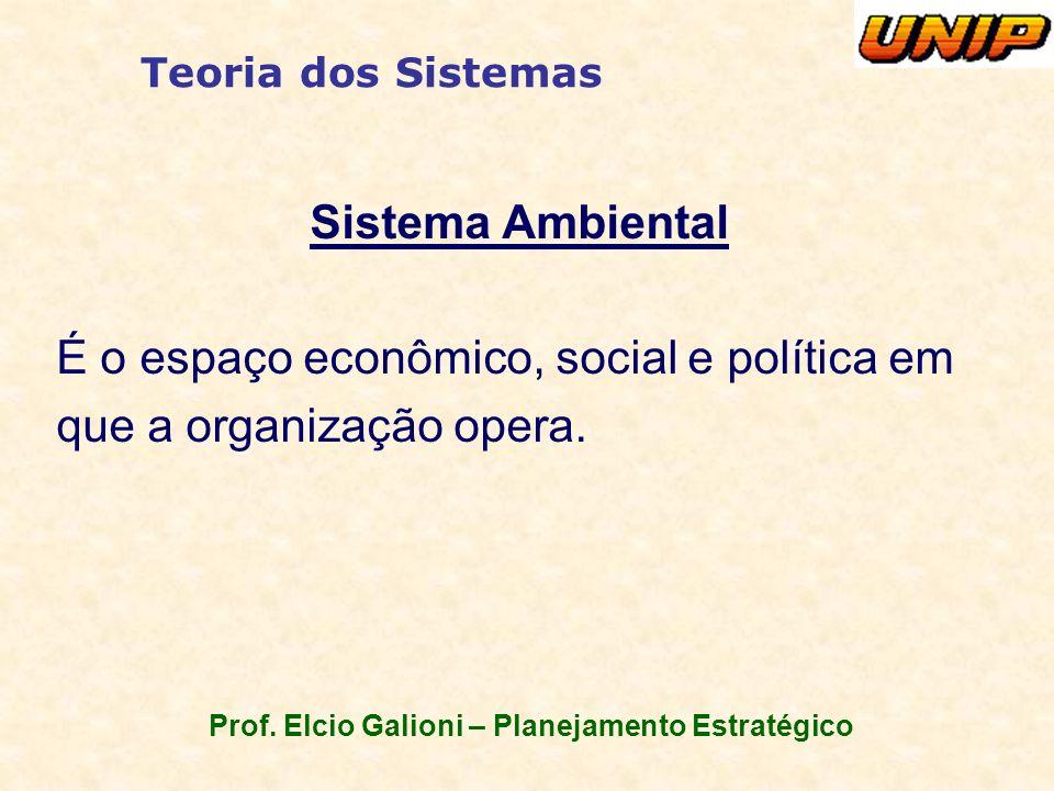 Prof. Elcio Galioni – Planejamento Estratégico Teoria dos Sistemas Sistema Ambiental É o espaço econômico, social e política em que a organização oper