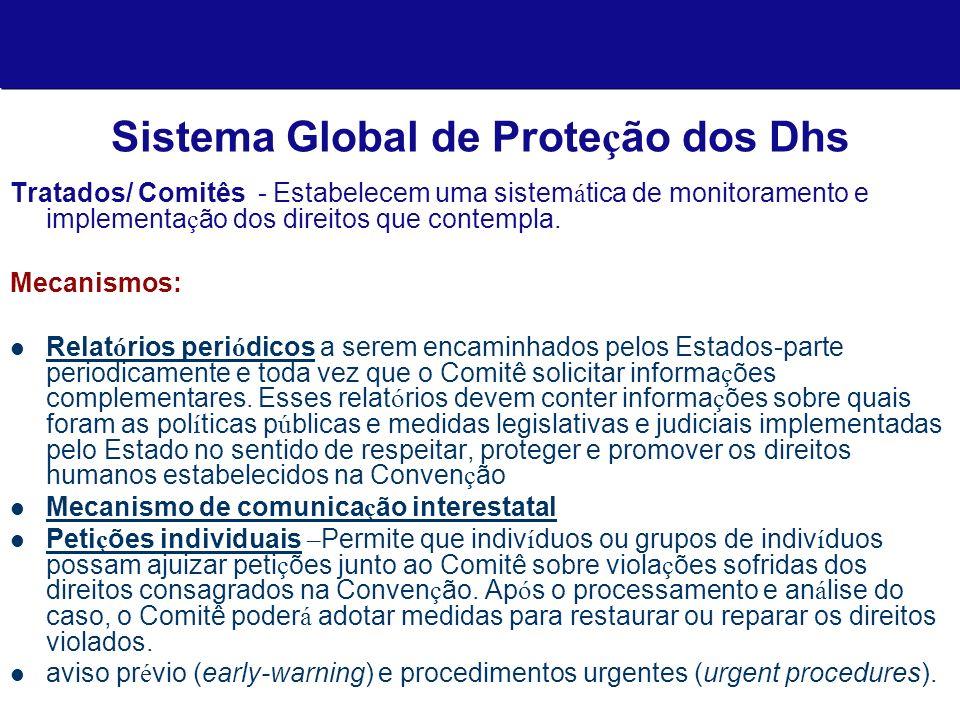 Sistema Global de Prote ç ão dos Dhs Tratados/ Comitês - Estabelecem uma sistem á tica de monitoramento e implementa ç ão dos direitos que contempla.