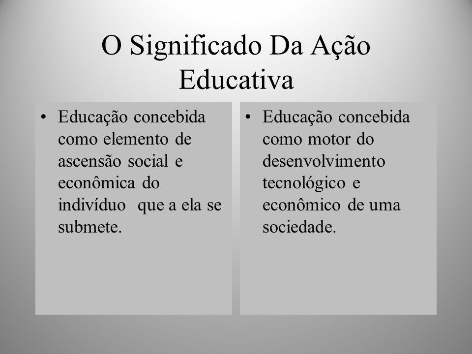O Significado Da Ação Educativa Educação concebida como elemento de ascensão social e econômica do indivíduo que a ela se submete.