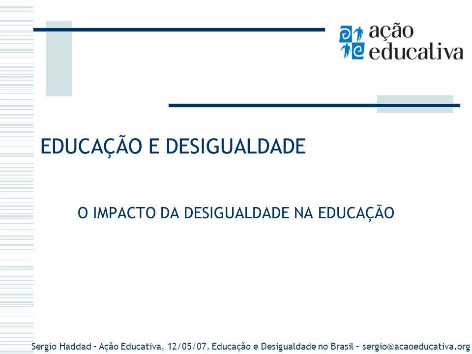 Sergio Haddad – Ação Educativa, 12/05/07, Educação e Desigualdade no Brasil – sergio@acaoeducativa.org AnosEnsino Primário (4 anos) Ensino Fundamental (8 anos) PopulaçãoMatricula%PopulaçãoMatricula% 192030.635.6051.003.4213,4 194041.236.3153.068.2697,4 195051.944.3974.366.7928,4 196070.119.0717.458.00210,6 1970--- 93.135.037 5.894,62717,06 1980--- 119.002.706 22.598.25418,98 1991--- 146.825.475 29.203.72419,89 2000--- 169.799.17035.717.94821,03 Brasil: Taxa de população no ensino primário e fundamental (1920-2000) Fonte: IBGE.