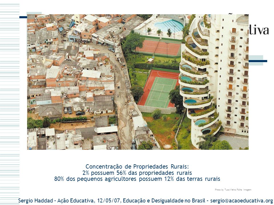 Sergio Haddad – Ação Educativa, 12/05/07, Educação e Desigualdade no Brasil – sergio@acaoeducativa.org DADOS DA POBREZA renda familiar mensal inferior a R$ 520 – 82,2 milhões de brasileiros (48% da população).