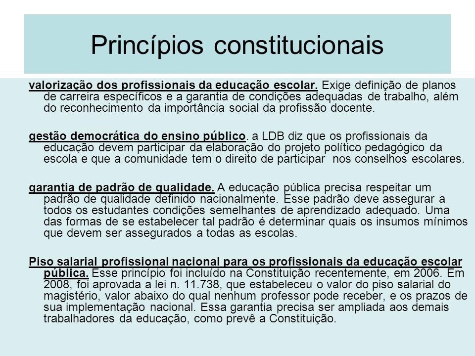 Princípios constitucionais valorização dos profissionais da educação escolar. Exige definição de planos de carreira específicos e a garantia de condiç