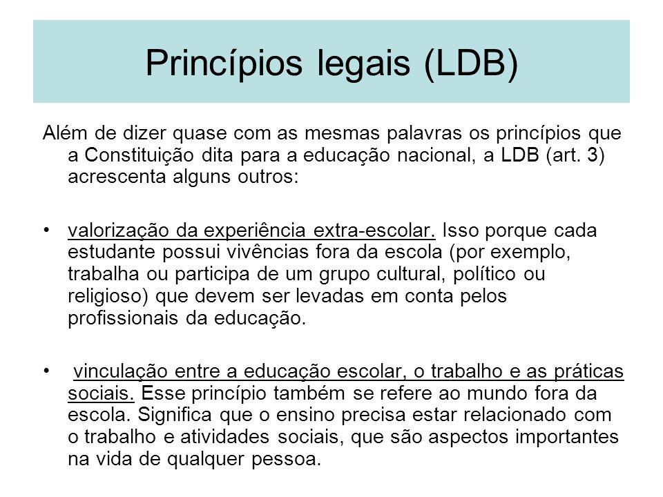 Princípios legais (LDB) Além de dizer quase com as mesmas palavras os princípios que a Constituição dita para a educação nacional, a LDB (art. 3) acre
