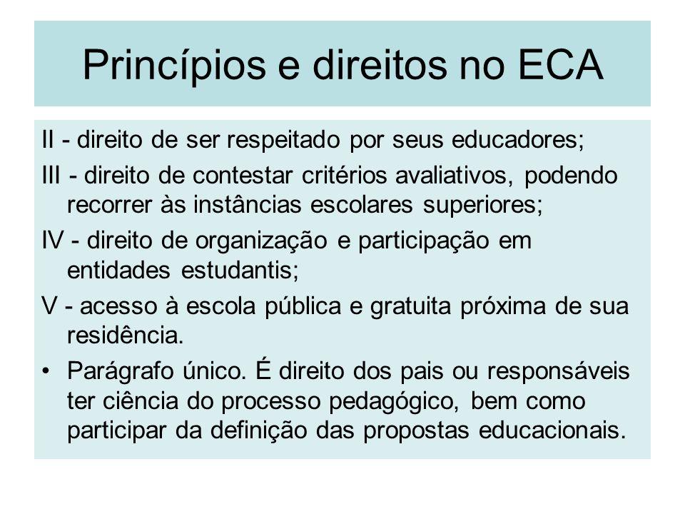 Princípios e direitos no ECA II - direito de ser respeitado por seus educadores; III - direito de contestar critérios avaliativos, podendo recorrer às