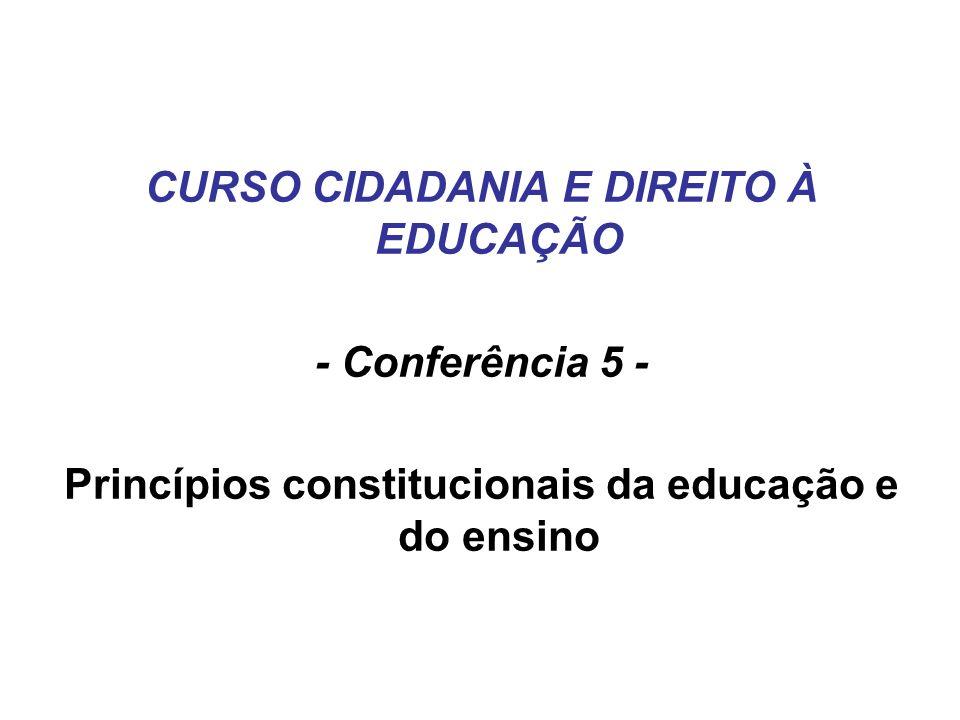 CURSO CIDADANIA E DIREITO À EDUCAÇÃO - Conferência 5 - Princípios constitucionais da educação e do ensino