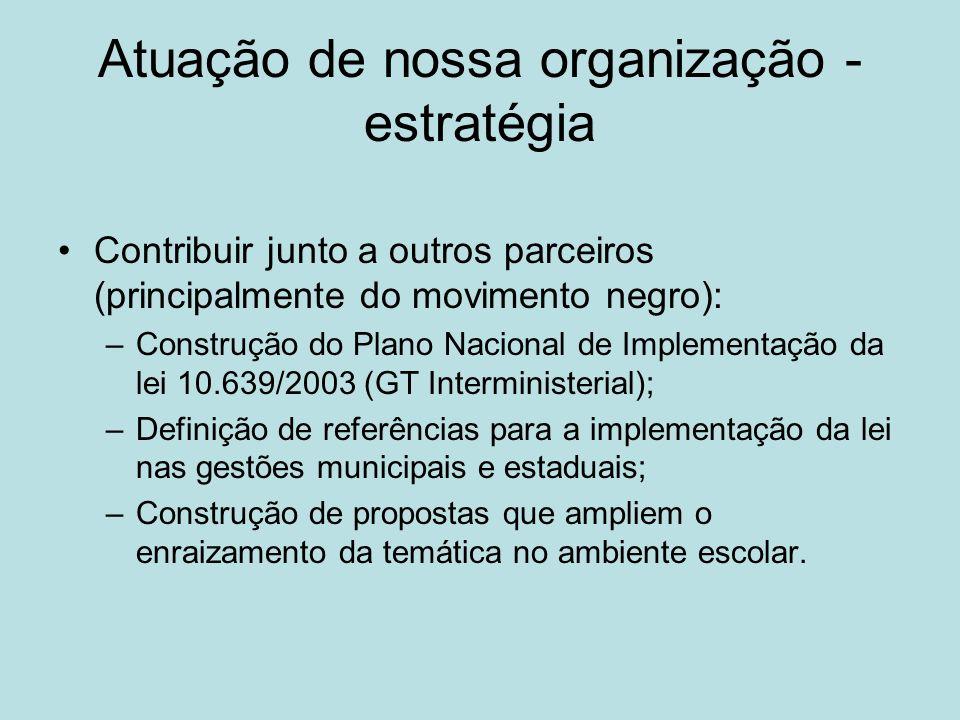 Atuação de nossa organização - estratégia Contribuir junto a outros parceiros (principalmente do movimento negro): –Construção do Plano Nacional de Im