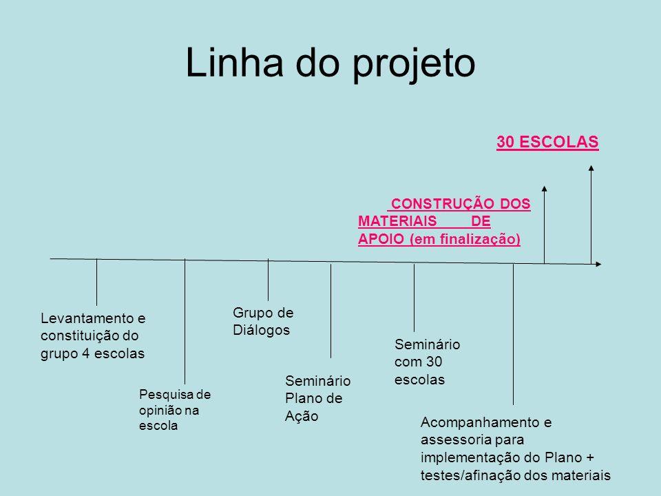 Linha do projeto 30 ESCOLAS Levantamento e constituição do grupo 4 escolas Pesquisa de opinião na escola Grupo de Diálogos Seminário Plano de Ação Sem