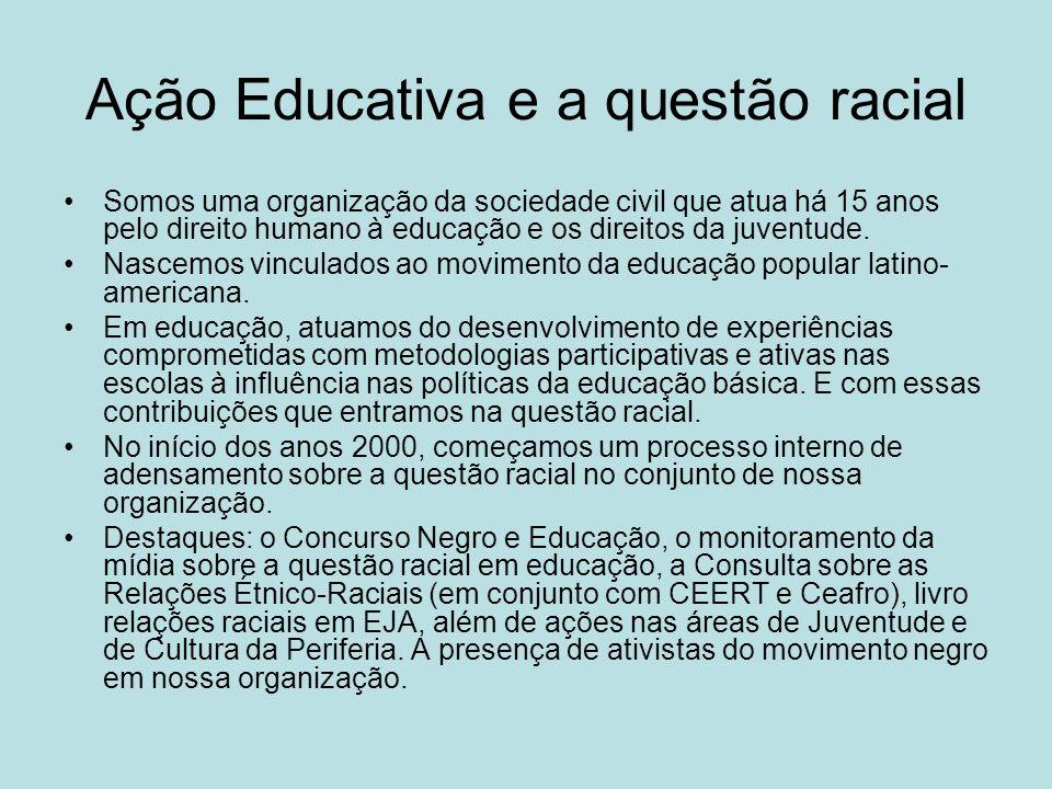 Ação Educativa e a questão racial Somos uma organização da sociedade civil que atua há 15 anos pelo direito humano à educação e os direitos da juventu