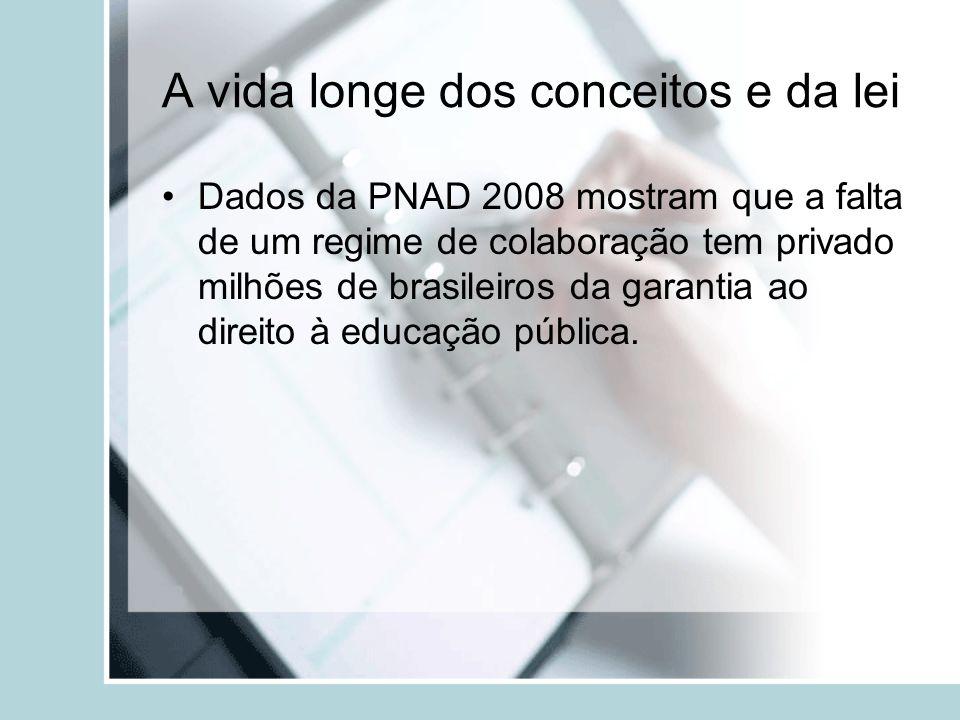 A vida longe dos conceitos e da lei Dados da PNAD 2008 mostram que a falta de um regime de colaboração tem privado milhões de brasileiros da garantia