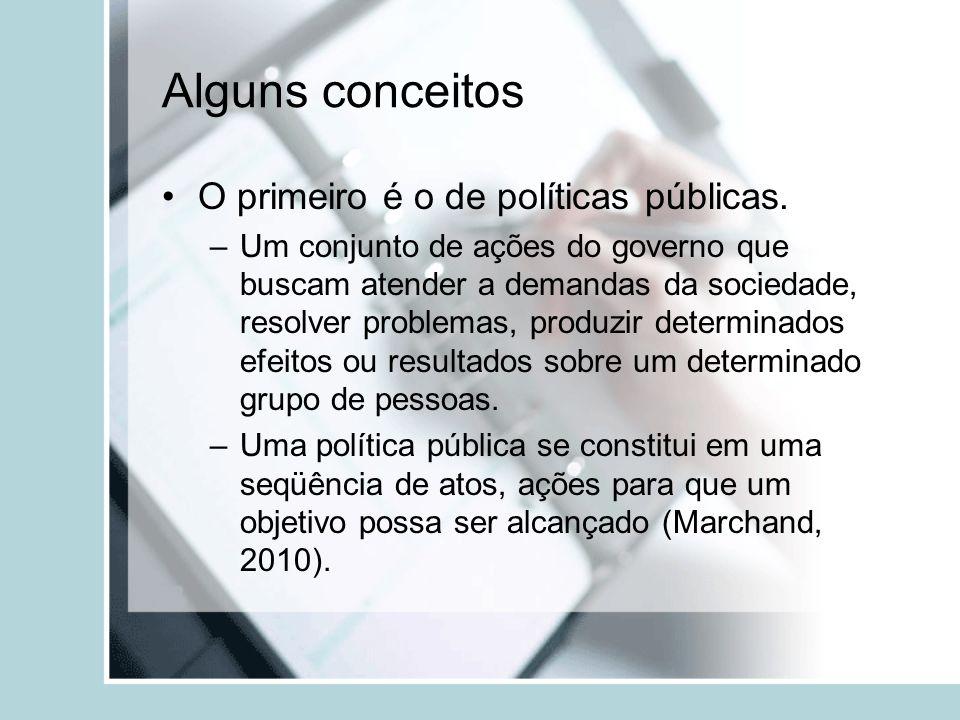 Alguns conceitos O primeiro é o de políticas públicas. –Um conjunto de ações do governo que buscam atender a demandas da sociedade, resolver problemas