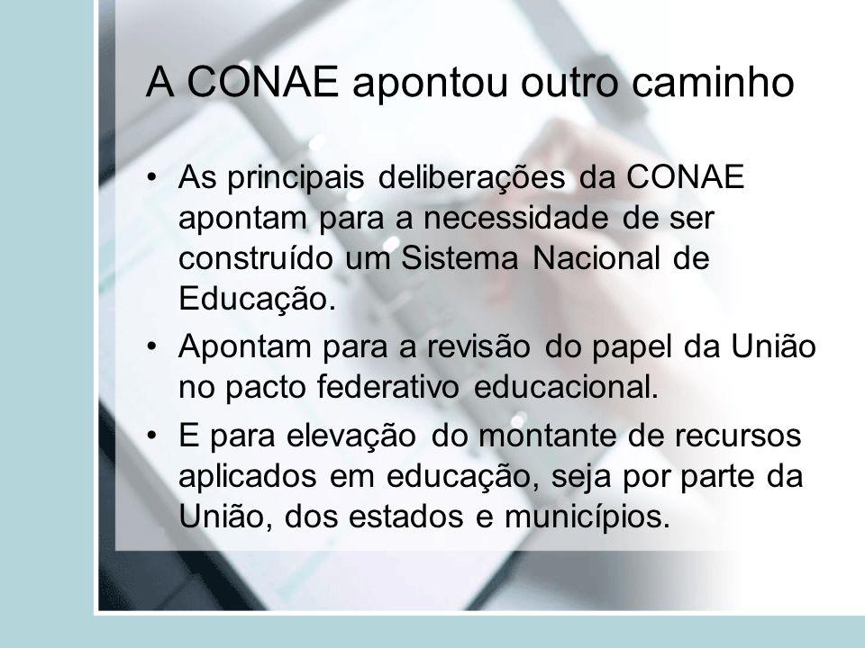 A CONAE apontou outro caminho As principais deliberações da CONAE apontam para a necessidade de ser construído um Sistema Nacional de Educação. Aponta