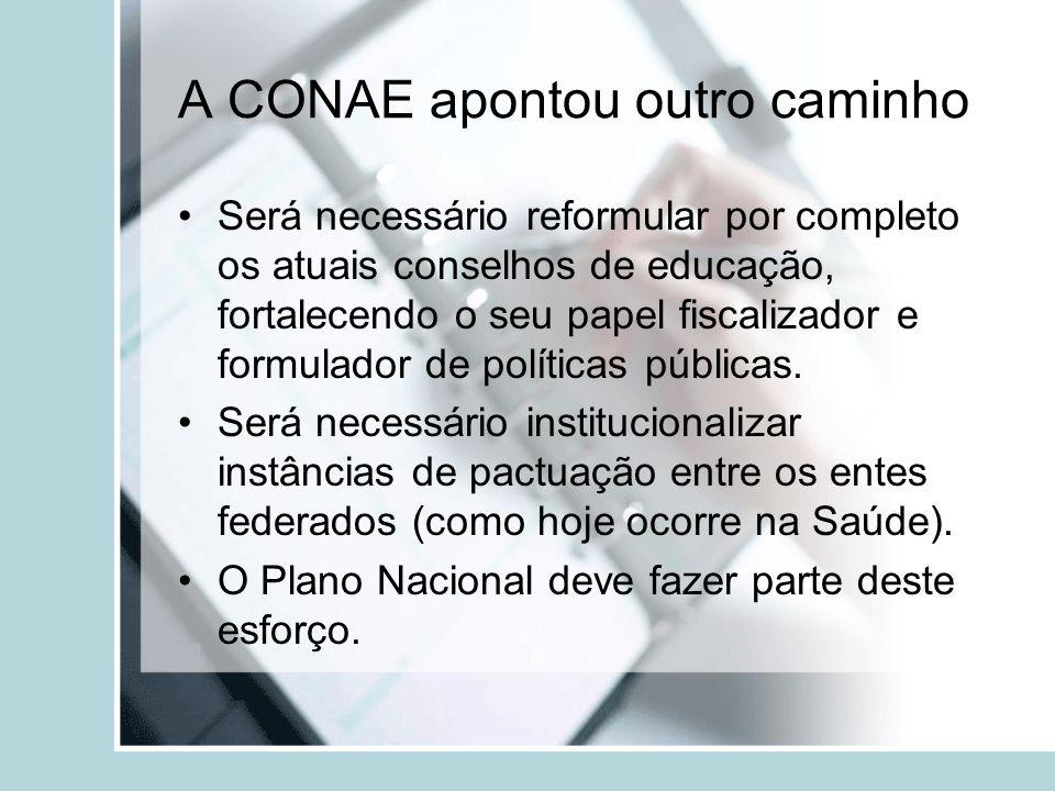 A CONAE apontou outro caminho Será necessário reformular por completo os atuais conselhos de educação, fortalecendo o seu papel fiscalizador e formula