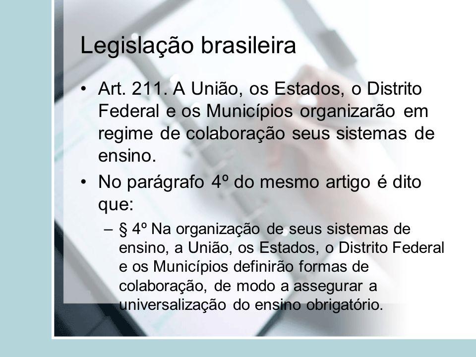 Legislação brasileira Art. 211. A União, os Estados, o Distrito Federal e os Municípios organizarão em regime de colaboração seus sistemas de ensino.