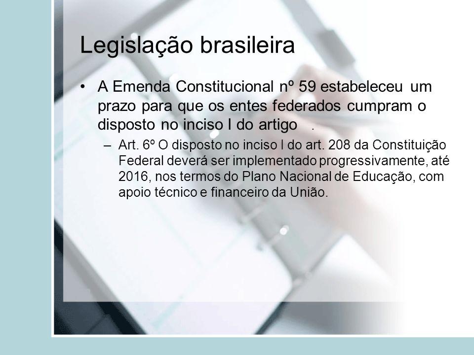 Legislação brasileira A Emenda Constitucional nº 59 estabeleceu um prazo para que os entes federados cumpram o disposto no inciso I do artigo. –Art. 6
