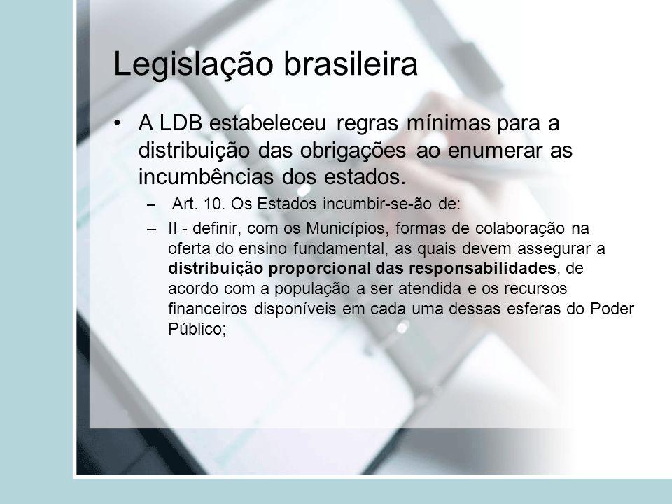 Legislação brasileira A LDB estabeleceu regras mínimas para a distribuição das obrigações ao enumerar as incumbências dos estados. – Art. 10. Os Estad