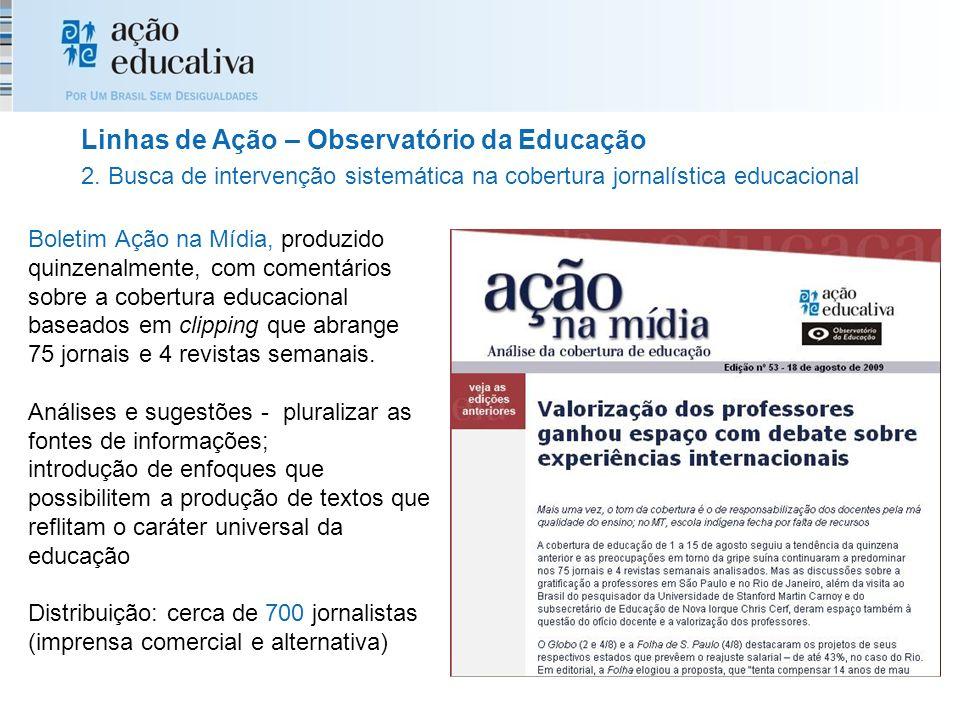 Boletim Ação na Mídia, produzido quinzenalmente, com comentários sobre a cobertura educacional baseados em clipping que abrange 75 jornais e 4 revista