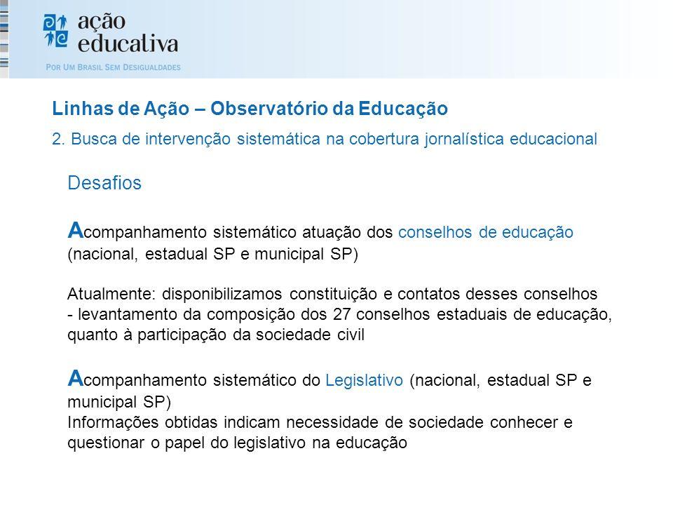 Desafios A companhamento sistemático atuação dos conselhos de educação (nacional, estadual SP e municipal SP) Atualmente: disponibilizamos constituiçã