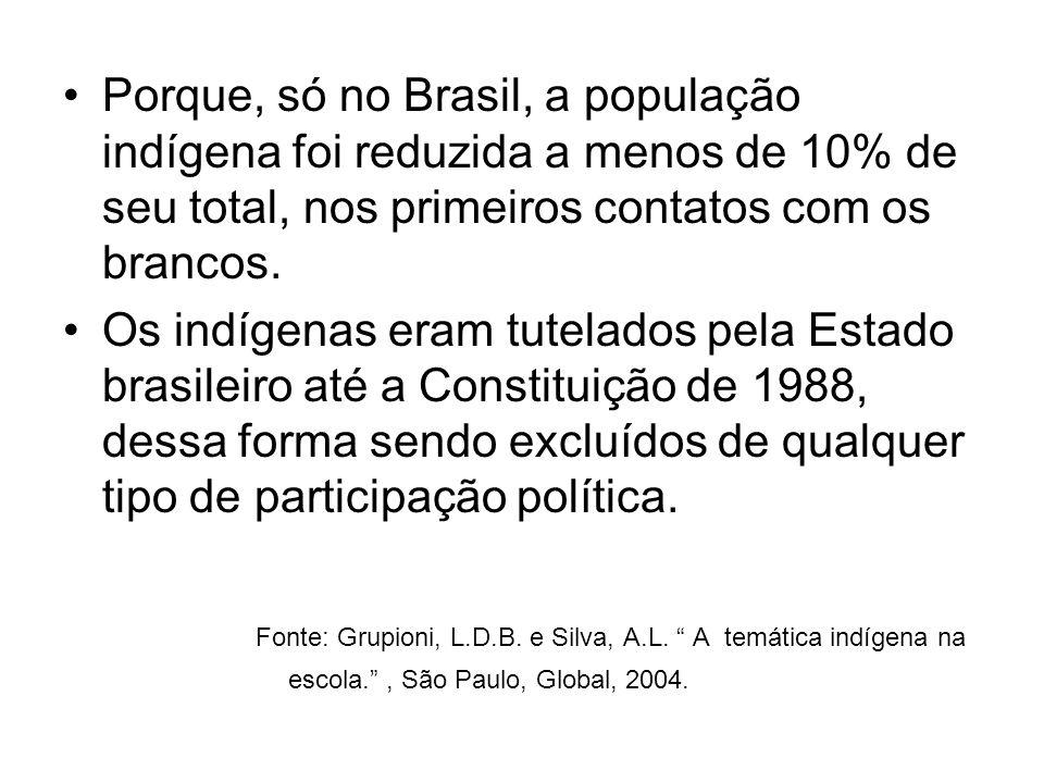 Porque, só no Brasil, a população indígena foi reduzida a menos de 10% de seu total, nos primeiros contatos com os brancos. Os indígenas eram tutelado