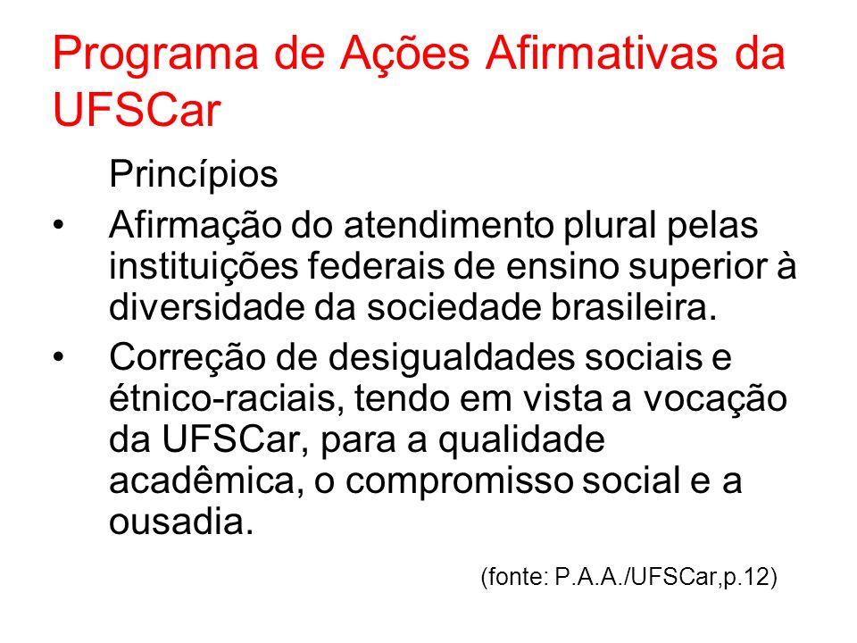 Programa de Ações Afirmativas da UFSCar Princípios Afirmação do atendimento plural pelas instituições federais de ensino superior à diversidade da soc