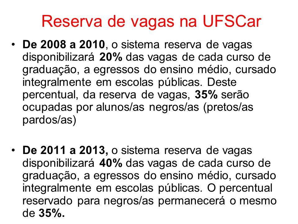 Reserva de vagas na UFSCar De 2008 a 2010, o sistema reserva de vagas disponibilizará 20% das vagas de cada curso de graduação, a egressos do ensino m