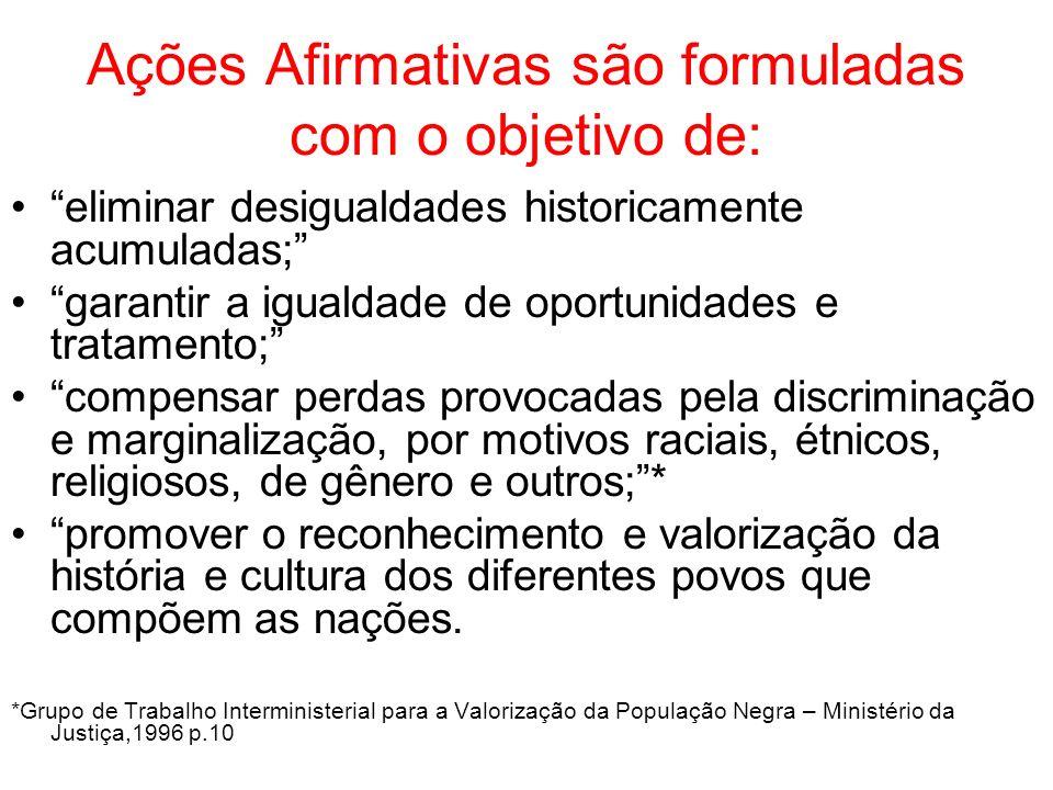 Ações Afirmativas são formuladas com o objetivo de: eliminar desigualdades historicamente acumuladas; garantir a igualdade de oportunidades e tratamen