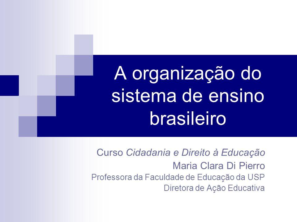 A organização do sistema de ensino brasileiro Curso Cidadania e Direito à Educação Maria Clara Di Pierro Professora da Faculdade de Educação da USP Di