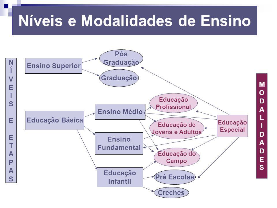Níveis e Modalidades de Ensino Ensino Superior Educação Básica Ensino Médio Pós Graduação Ensino Fundamental Educação Infantil Pré Escolas Creches NÍV