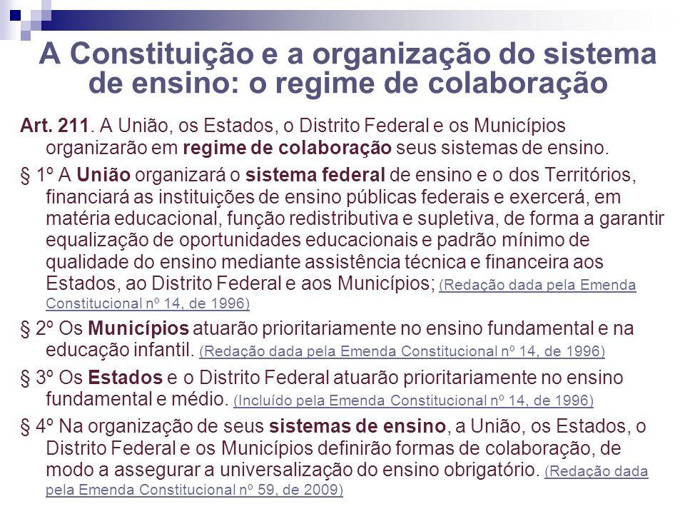 A Constituição e a organização do sistema de ensino: o regime de colaboração Art. 211. A União, os Estados, o Distrito Federal e os Municípios organiz