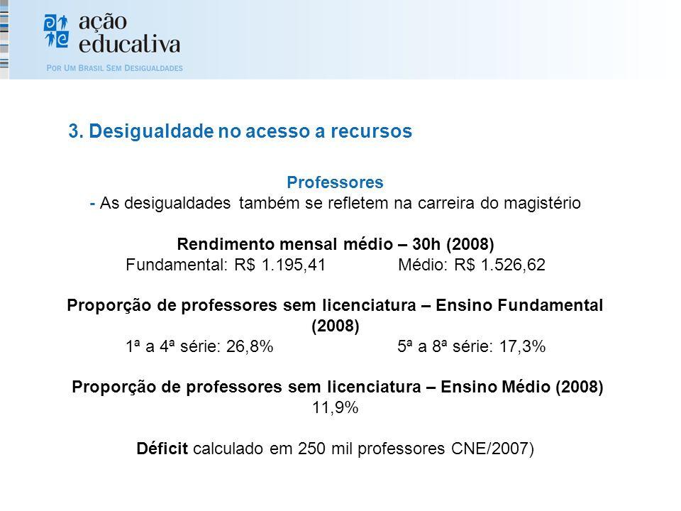 Professores - As desigualdades também se refletem na carreira do magistério Rendimento mensal médio – 30h (2008) Fundamental: R$ 1.195,41Médio: R$ 1.526,62 Proporção de professores sem licenciatura – Ensino Fundamental (2008) 1ª a 4ª série: 26,8%5ª a 8ª série: 17,3% Proporção de professores sem licenciatura – Ensino Médio (2008) 11,9% Déficit calculado em 250 mil professores CNE/2007) 3.