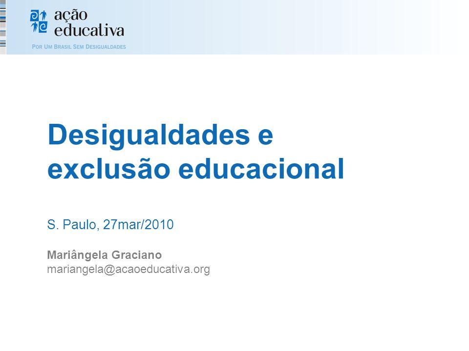 20052008 Brasil10,910,6 Nordeste------3,8 Norte4%___ Sul16,915,4 Obs.: ausência de informações públicas Ensino Fundamental - cerca 98% de 7 a 14 anos na escola - muitas crianças e adolescentes fora - notícias de falta de vagas nos 2 últimos anos Relação entre matrícula na educação profissional técnica e estimativa da demanda potencial (nº de matrícula no 1º e 2º EM + nº matrícula EJA médio)