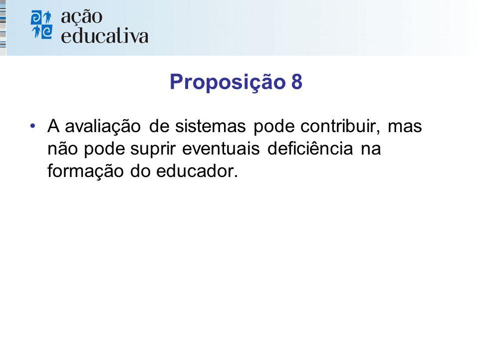 Proposição 8 A avaliação de sistemas pode contribuir, mas não pode suprir eventuais deficiência na formação do educador.
