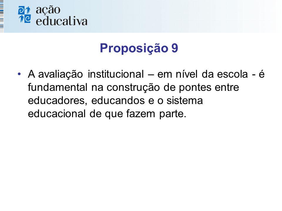 Proposição 9 A avaliação institucional – em nível da escola - é fundamental na construção de pontes entre educadores, educandos e o sistema educacional de que fazem parte.