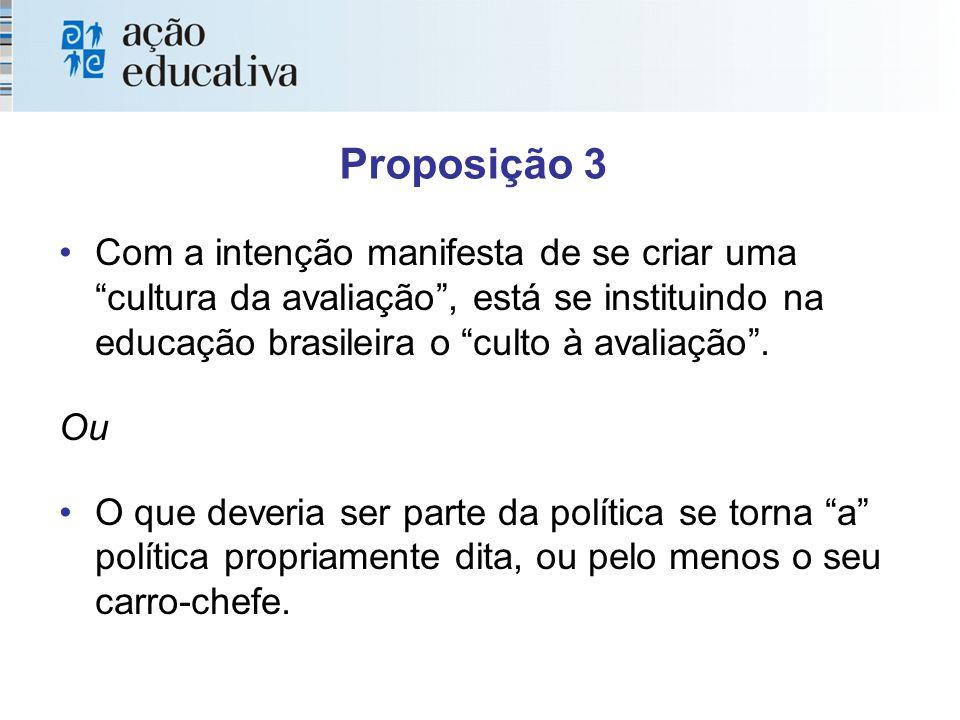 Proposição 3 Com a intenção manifesta de se criar uma cultura da avaliação, está se instituindo na educação brasileira o culto à avaliação.