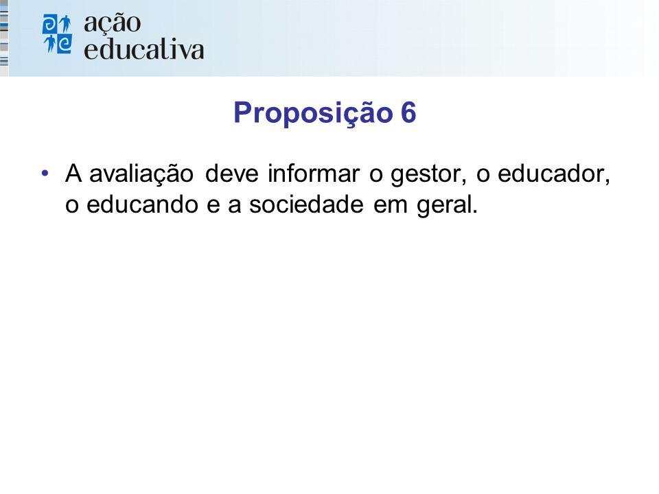 Proposição 6 A avaliação deve informar o gestor, o educador, o educando e a sociedade em geral.
