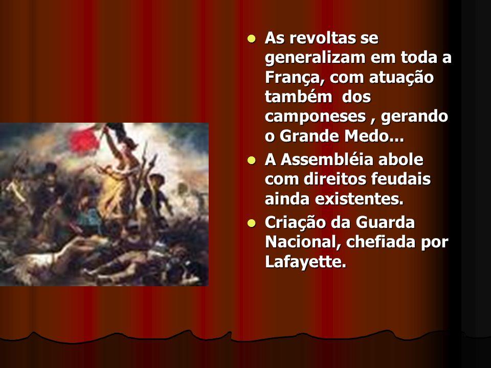 As revoltas se generalizam em toda a França, com atuação também dos camponeses, gerando o Grande Medo... As revoltas se generalizam em toda a França,
