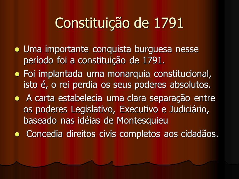 Constituição de 1791 Uma importante conquista burguesa nesse período foi a constituição de 1791. Uma importante conquista burguesa nesse período foi a