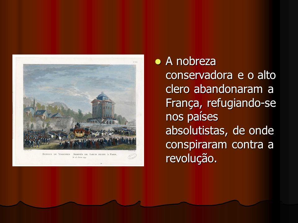 A nobreza conservadora e o alto clero abandonaram a França, refugiando-se nos países absolutistas, de onde conspiraram contra a revolução. A nobreza c