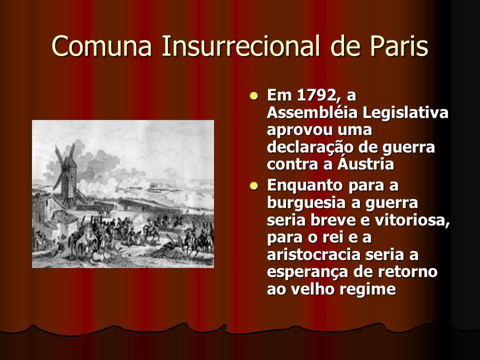 Comuna Insurrecional de Paris Em 1792, a Assembléia Legislativa aprovou uma declaração de guerra contra a Áustria Em 1792, a Assembléia Legislativa ap